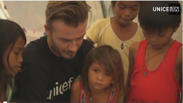 بيكهام يزور ضحايا إعصار الفلبين