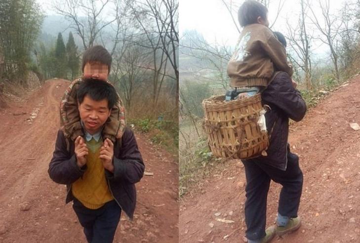 يحمل ابنه المعاق لمسافة 30 كلم يوميا لايصاله إلى المدرسة