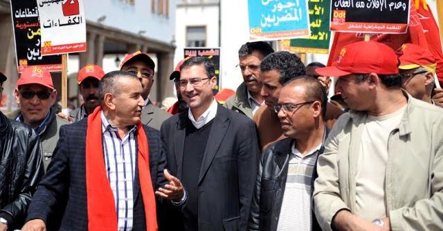 مسيرة لمنظمة نقابية مغربية في الرباط ضد سياسة حكومة بنكيران التقشفية