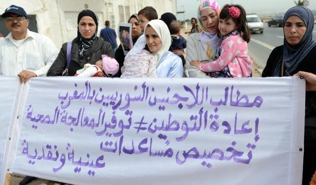 لاجئون سوريون  يتظاهرون بالمغرب للمطالبة بتحسين أوضاعهم المعيشية