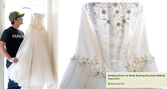 أسترالي يعرض فستان عرس زوجته للبيع بعد خيانتها