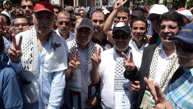حضور سياسي وجماهيري حاشد  في مسيرة التضامن مع الشعب الفلسطيني في الرباط