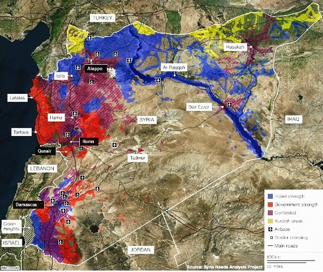 خريطة السيطرة العسكرية على الأرض السورية..