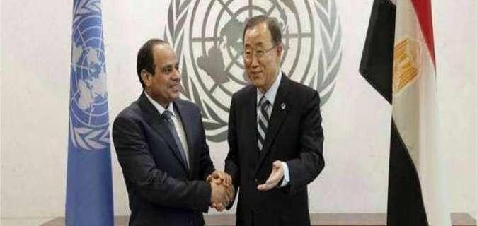 السيسي وبان كي مون يتباحثان الوضع في ليبيا