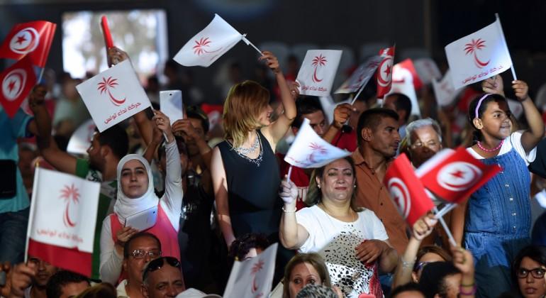 نداء تونس يبدأ احتفالاته بالنصر بعد إعلان النتائج الأولية للانتخابات التشريعية
