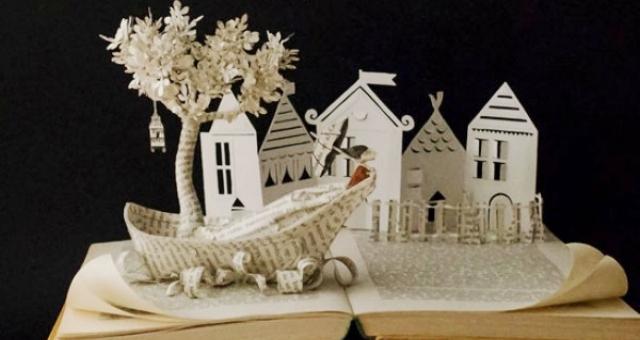 بالصور.. فنانة إسبانية تحول ورق الكتب إلى أشكال فنية مميزة