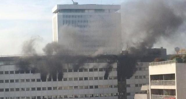 حريق مفاجئ في مبنى