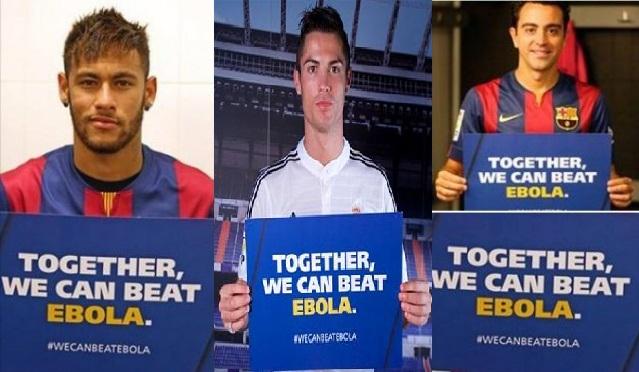 رونالدو ونيمار ودروغبا في حملة ضد «إيبولا»