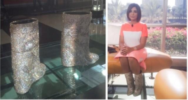 بالصور.. إعلامية إماراتية تستفز جمهورها بحذاء بـ 3 مليون دولار