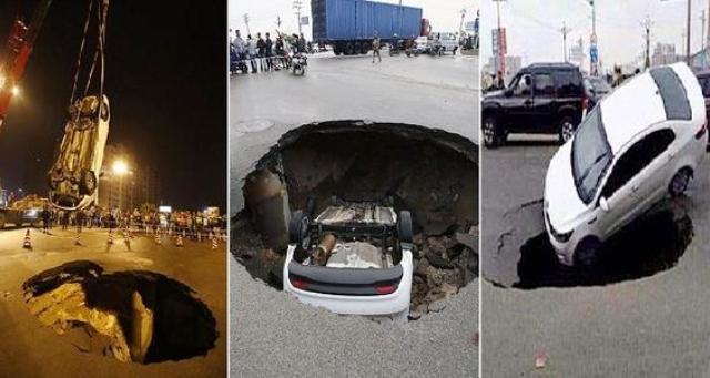 بالفيديو.. ينجو من الموت بأعجوبة بعد سقوط سيارته في حفرة!