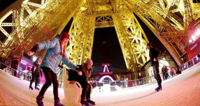 بالصور.. حلبة « للتزلج على الجليد» ببرج إيقل على ارتفاع 57 مترًا
