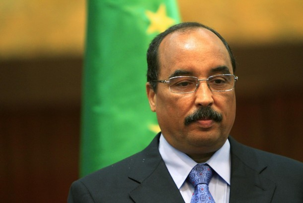 Mauritanian President Aziz is seen during his official visit in Khartoum
