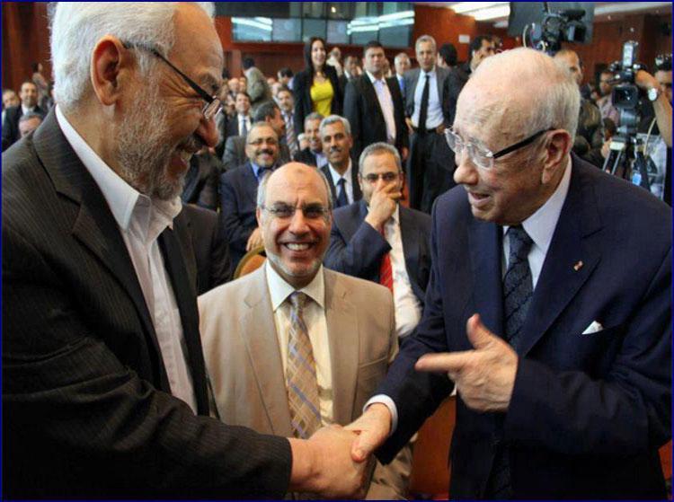 وقفة احتجاجية امام مقر نداء تونس لمنع إشراك النهضة في الحكومة