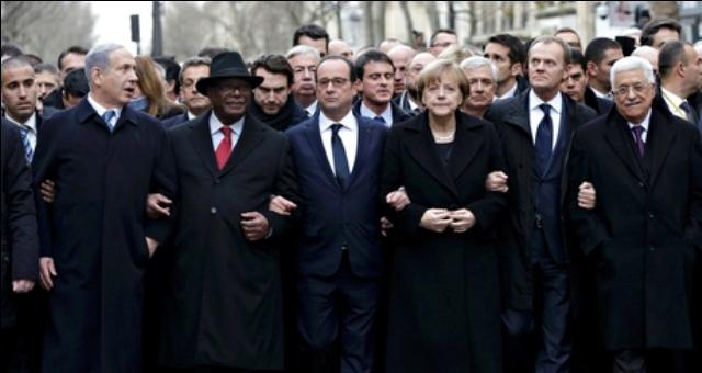 قادة العالم يتضامنون مع فرنسا في مسيرة باريس