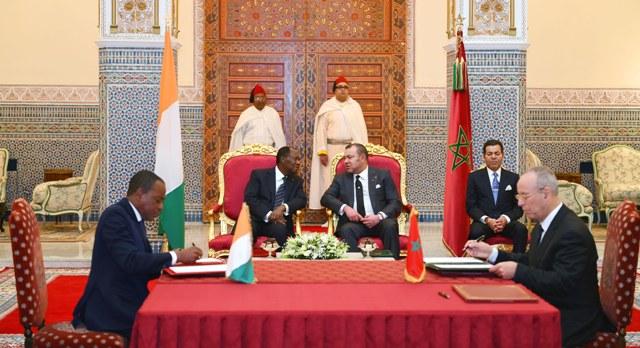 مباحثات بين العاهل المغربي ورئيس الكوت ديفوار..والتوقيع على اتفاقيات للتعاون الثنائي