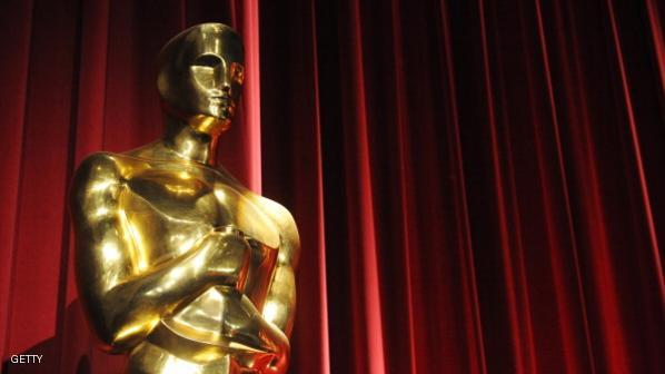 An Oscars statue is seen before the star