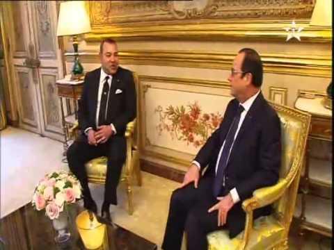 لقاء العاهل المغربي مع الرئيس الفرنسي