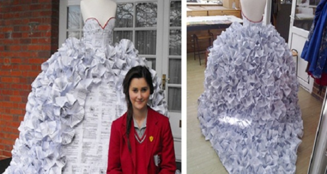 بريطانية تصنع فستان زفاف من الورق