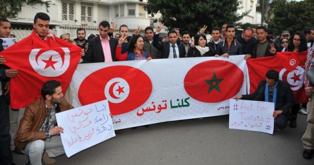 وقفة في الرباط للتضامن مع الشعب التونسي