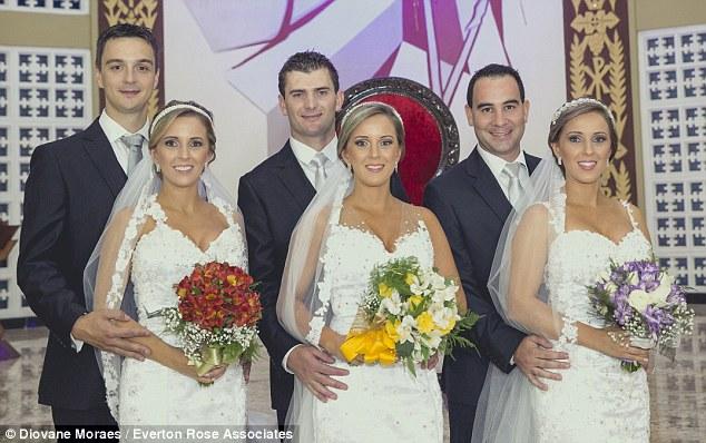 ثلاث فتيات توائم يتزوجن معا  في نفس حفل الزفاف