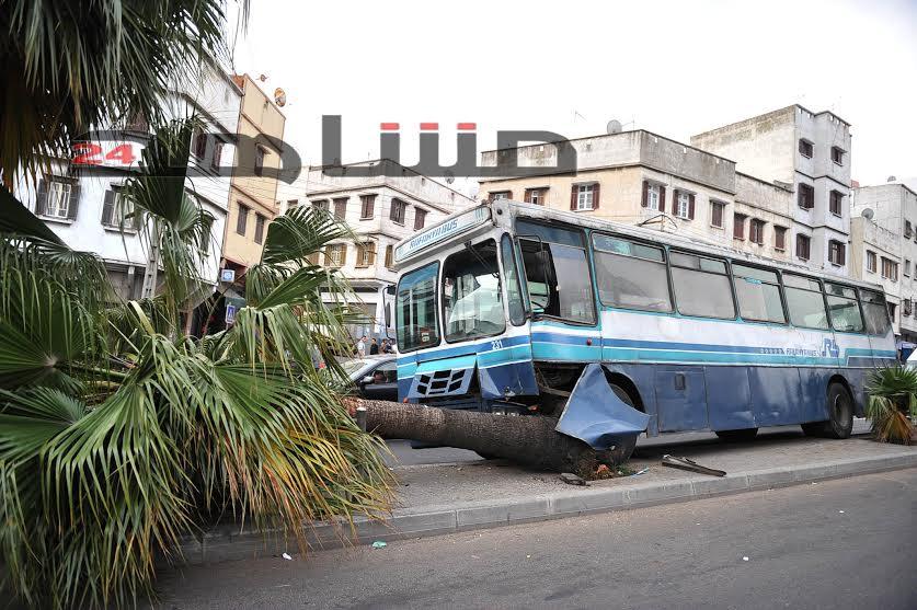 بالفيديو:حافلة مجنونة تصطدم بنخلة في الدار البيضاء