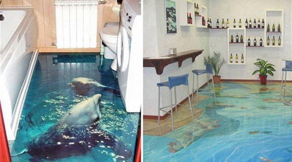 بالصور: حمامات بأرضيات تنقلك إلى جزيرة استوائية