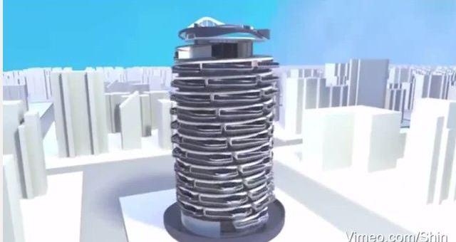 بالفيديو.. مبنى حلزوني تتبادل الشقق مواقعها فيه باستمرار