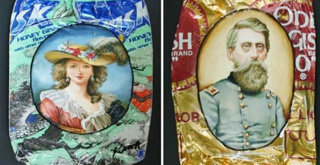 بالصور.. فنانة تحول القمامة إلى لوحات مدهشة
