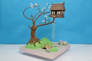 tree house gravity cake http://www.thecakemakeryshop.co.uk/classes/gravity-defying-cake-class-17th-18th-19th-june-2015/