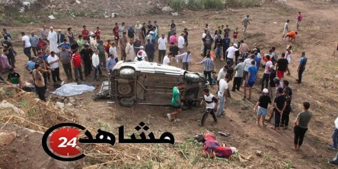 انقلاب سيارة في طريق المحمدية