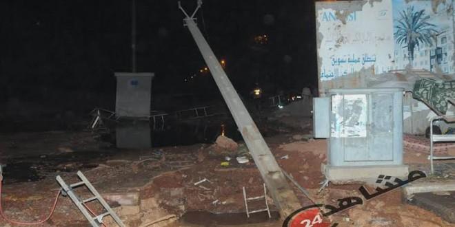 سقوط عمود كهربائي في البرنوصي