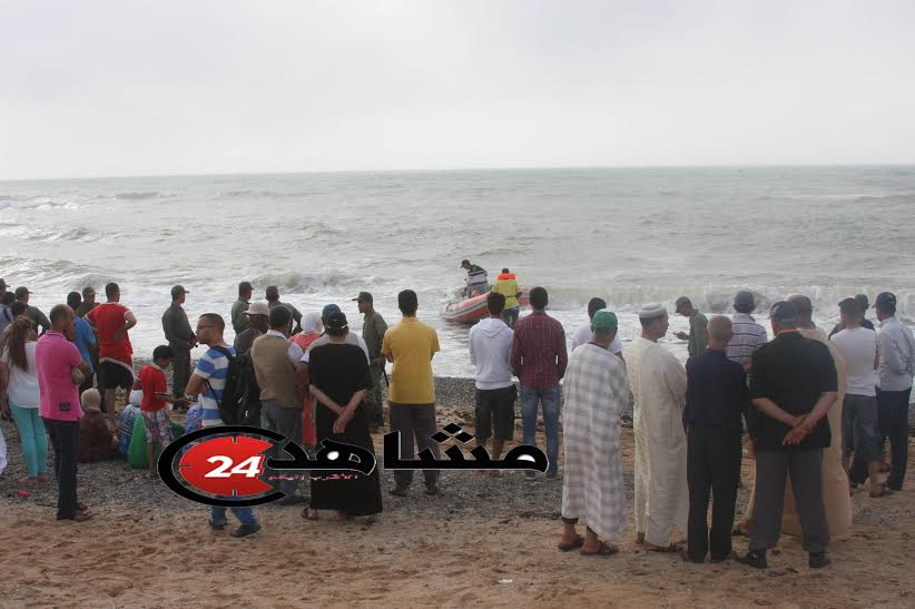 استمرار عملية البحث عن جثت الأطفال غرقى شاطئ واد الشراط