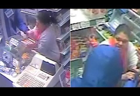 فيديو…سيدة تتغلب على لص بركله خارج المتجر