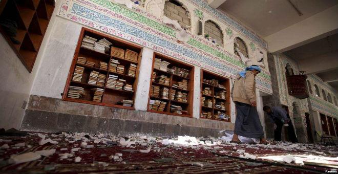 عشرات القتلى في هجوم على مسجد للحوثيين بصنعاء