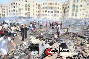 احتراق سوق سيدي مون إطفاء