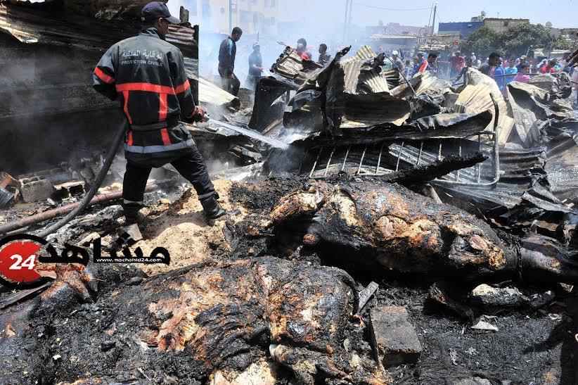 عاجل: نفوق أبقار بعد احتراق سوق كاريان سيدي مومن في الدار البيضاء