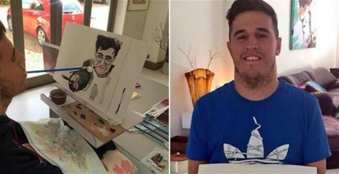 بريطاني يرسم بفمه بعد أن أصيب بالشلل
