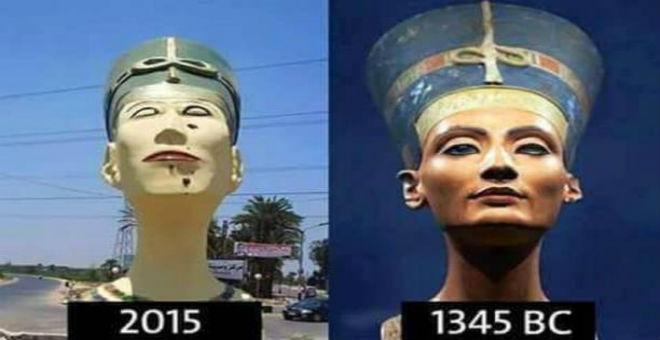 نفرتيتي تتحول من رمز للجمال إلى تمثال مشوه