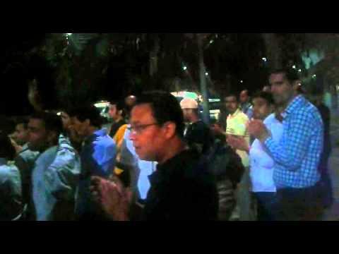 موظفو وكالة التنمية الاجتماعية يحتجون ليلا أمام وزارة الحقاوي