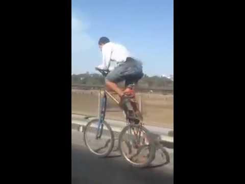 دراجة عجيبة تظهر على قنطرة مولاي الحسن الرباط