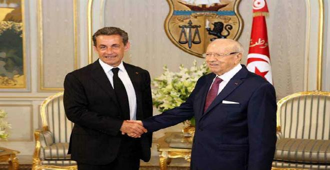 ساركوزي يلتقي السبسي ويدعو لدعم الديمقراطية الناشئة في تونس