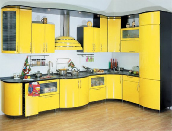 Yellow-Decorating-of-Modern-Kitchen-Island-570x434
