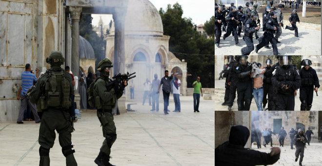 الاحتلال الاسرائيلي يقتحم المسجد الأقصى ويصيب عشرات المصلين بالرصاص الحي