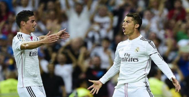 رونالدو وخيمس يسجلان للريال في أربع بطولات