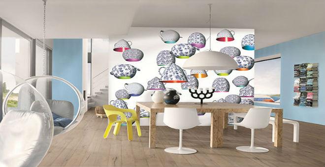 بالصور: ورق الحائط يلون ديكور المطابخ