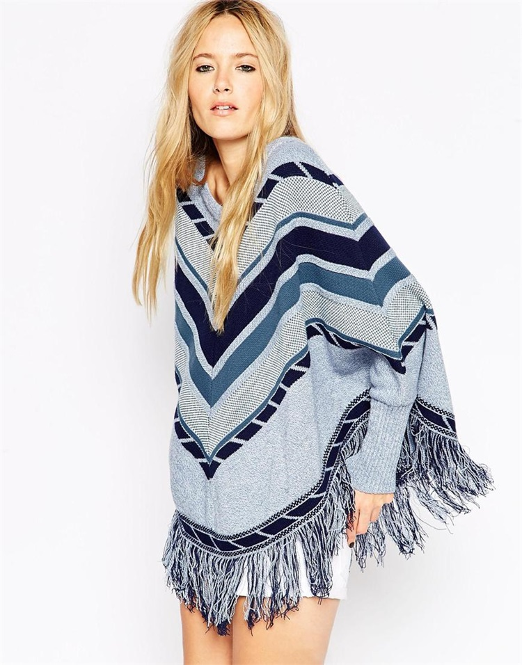 2015-Autumn-and-winter-fashion-poncho-women-geometry-spell-color-loose-cloak-fringed-oversized-sweater-tassel