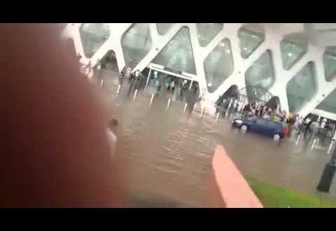 غرق مطار مراكش بالأمطار
