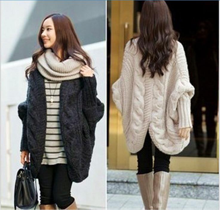new-2015-Winter-autumn-Women-Sweaters-coat-women-Fashion-Colorful-Bat-Knitted-Cardigan-Dress-crochet-tricot