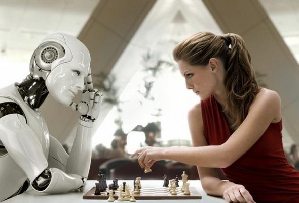 رجل آلي بذكاء إصطناعي يرد على مستجوبه