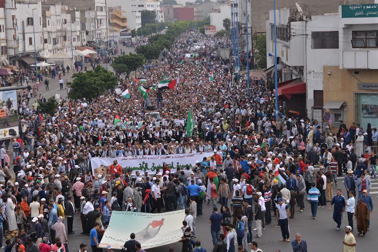 بالصور. حناجر البيضاويين تصدح عاليا في مسيرة لدعم انتفاضة الأقصى
